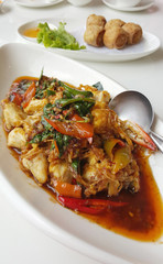 Crab meat stir fried with chili paste
