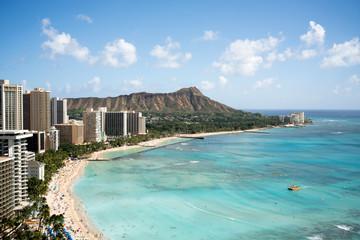 ワイキキビーチとダイヤモンドヘッド、ハワイ