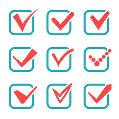 Check mark icons. Red tick check marks in blue boxes. Vector illustration
