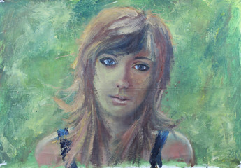 Abstract girl portrait on green oil painting on canvas