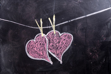 Hearts drawn with chalk