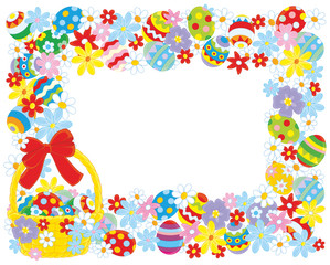 Horizontal vector frame with a decorated Easter basket, colorfully painted eggs and flowers