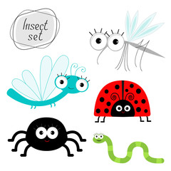 Cute cartoon insect set. Ladybug, dragonfly, mosquito, spider, worm. Isolated.