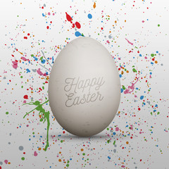 Easter realistic White Egg with greeting Text