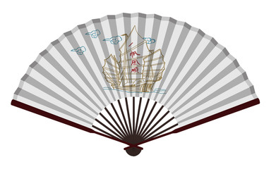 Ancient Chinese Fan With Sailing Boat