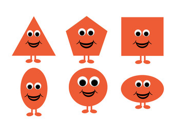 Illustration of shapes with a happy cartoon face, great for kids