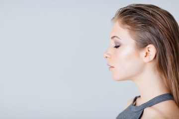 Side view portrait of a lovely woman