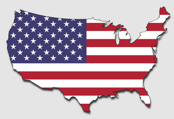 Map of USA, Filled with the National Flag