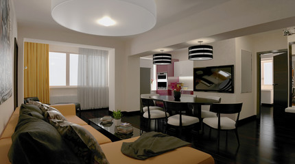 3d rendering. Interior of modern apartment, empty living room with large windows