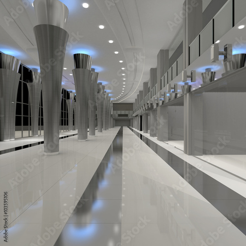 3d rendering mall interior empty hall interior with Floor to ceiling windows price