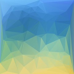 Polygonal mosaic background in blue and yellow colors. Used for