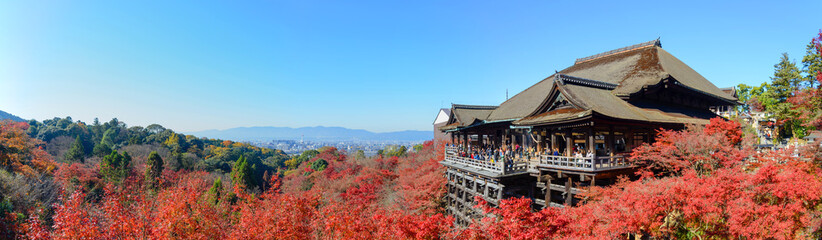 Photo sur Plexiglas Kyoto Kyoto, Japan - December 8, 2015: Panorama of Kiyomizu-dera template