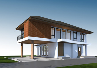 3D render of tropical house with clipping path.