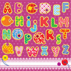 Patchwork ABC alphabet - letters are made of different ornamenta