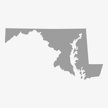 Map of Maryland State in gray on a white background