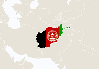 Asia with highlighted Afghanistan map.