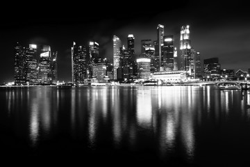 Night views of Singapore, Marina Bay panorama, black and white photo.