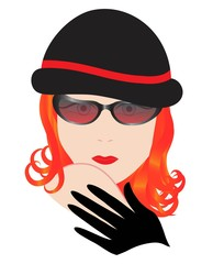 woman in glasses on white background