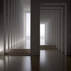 3d rendering. dark blank interior scene concrete wall