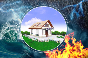 House insurance, protection from fire, rain, lightning and disaster
