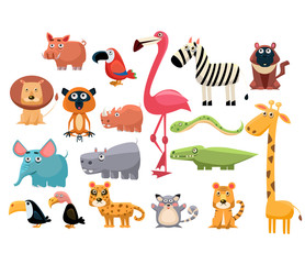 African Animals. Vector Illustration Set