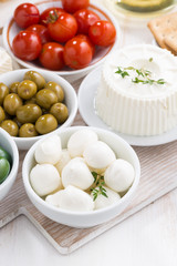 mozzarella, cream cheese and pickles, vertical, top view