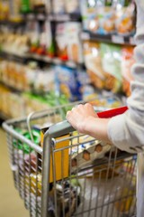 Cropped image of woman pushing trolley