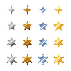 Different stars made from steel, bronze, silver and gold