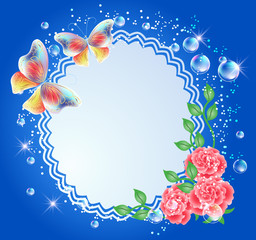 Background with frame, flowers and butterflies