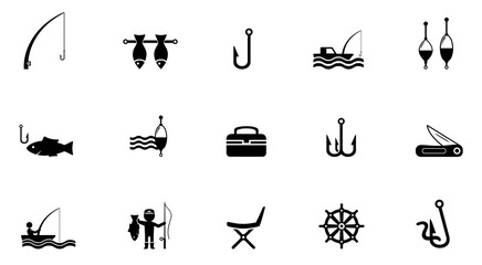 fishing isolated icons