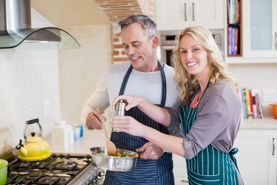 Cute couple cooking