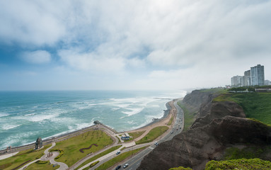 Lima, Peru. Landscape from Miraflores. South Pacific Ocean and living area in Background