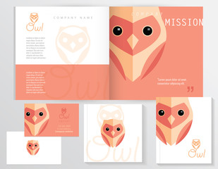 Contemporary modern minimalistic corporate identity stationery set with flat design owl logo element in pink and orange color hues