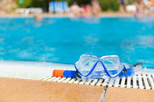 Diving equipment at swimming pool