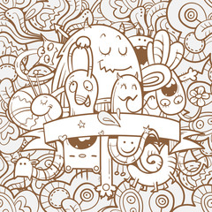 Seamless pattern with funny cartoon  monsters on  abstract background. Vector image. Doodle style.