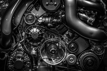 Engine. Close-up. Black and white. Wall mural