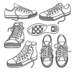 set with sneakers isolated on white