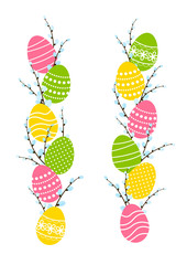 Easter eggs with pussy-willow branches