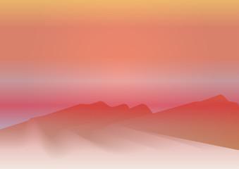 Закат в песчаной пустыне