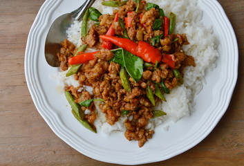 stir-fried minced pork with chili and basil leaves on rice