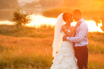 groom  and  bride is hugging on the background beautiful sunset