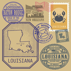 Stamp set with the name and map of Louisiana, United States