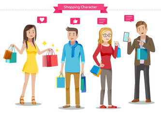 Character of shopping.Met by chance.The purchase has been completed.The dialogue in the mall.Describing the features of the product.Friendship of buyer in Department store.Graphic and vector EPS 10.