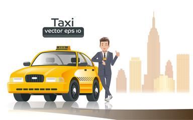 Taxi driver in the city.Career in the large City.Profession of faith is legitimate.Professional in the driving taxi.Taxi drivers credible.Graphic design and EPS 10.