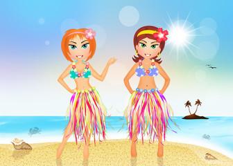 Hawaiian girls on the beach
