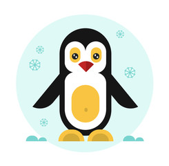 Cute geometric penguin. Vector flat design stock illustration.