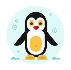 Cute geometric penguin. Vector flat design stock illustration.