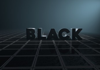 Black, 3D Typography