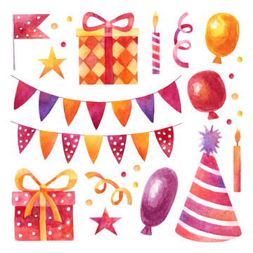 Birthday party set with red and yellow watercolor elements