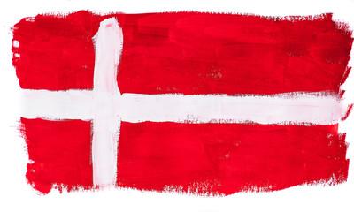 Нарисованный разноцветными красками флаг Дании